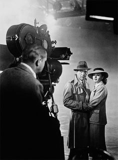 Humphrey Bogart and Ingrid Bergman on the set of Casablanca (1942)
