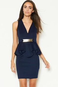 Navy Deep V Ruffle Peplum Dress with Metal Plate US$22.54 Sexy Outfits, Stylish Outfits, Orange Prom Dresses, Peplum Dresses, Princess Prom Dresses, Skirt Suit, Dress Collection, High Fashion, Fashion Dresses