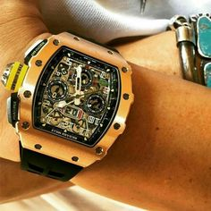 Live Wrist Shot of The newly released Richard Mille RM RG. Richard Mille, Patek Philippe, Audemars Piguet, Cool Watches, Rolex Watches, Men's Accessories, Cool Mens Bracelets, Mode Man, Omega
