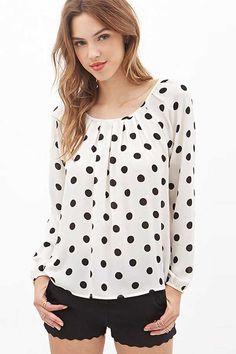 White Long Sleeve Polka Dot Blouse @ Womens Shirts & Blouses,Women Shirts,Cheap Button Down Shirts,Long Sleeve Shirts,Blouses,Peasant Blouse,Cheap Blouse,Sheer Shirts,Womens Denim Shirts,Fashion Blouse,Sexy Shirt,Collar Shirt,V Neck Blouse,Polo Shirt,Floral Print Shirt,White Blouse
