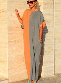 Algodão Colorido Manga curta Longo Informal Vestidos de (1038352) @ floryday.com