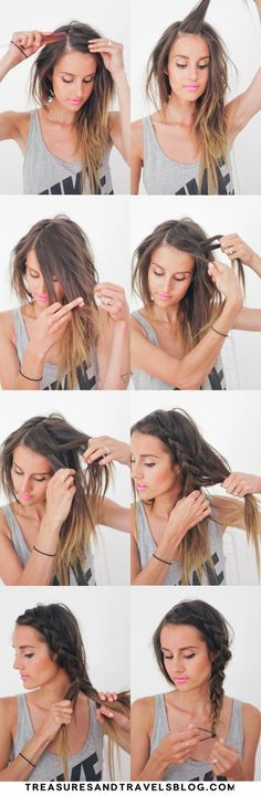 Messy Side Braid Tutorial via #treasuresandtravelblog #hairstyle #howto #hair