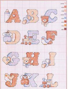 Cross Stitch For Kids, Cross Stitch Baby, Cross Stitch Alphabet Patterns, Cross Stitch Designs, Hama Beads, Baby Boy, Quilts, Embroidery, Crochet