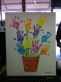 """Handprint Flower Pot Art...perhaps a project for 4-H - green hands, like """"4-H grows here"""""""