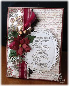Christmas Blessings Card...with burgundy bow & poinsettia.