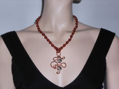 Silk macramé necklace light brown with copper and by AngelaMacrame, €85.00