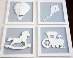 QUADRO TOYS  Decoração de quarto de bebê, kit quadros cinza, #decor , www.gkids.com.br