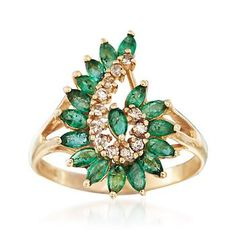 Ross-Simons - C. 1980 Vintage 1.35 ct. t.w. Emerald and .25 ct. t.w. Diamond…