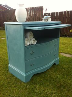 Painted in Annie Sloan Chalk Paint Ambusson Blue with Old White and finished in clear wax