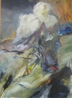 "The Rider, 38x53"" by Laetitia Bonnici. This piece exudes a certain softness in contrast to the bold, forceful paint strokes. Purchase from VM Concept in Scottsdale, AZ."