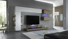 Tv-wandmeubel    Compleet tv-wandmeubel van Italiaans design. Bestaande uit een tv-meubel, hangunit, boekenkast, hangunit met glazen deuren.    Optioneel verkrijgbaar met LED verlichting. Dit tv-wandmeubel is verkrijgbaar in meerdere kleurcombinaties.