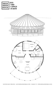 Yurt design for construction by Matthew Smith. These designs include bedrooms, bathrooms, office, loft, workshops and studios Building A Yurt, Home Building Design, Round House Plans, House Floor Plans, Bungalows, Wooden Yurts, Floor Design, House Design, Environmental Architecture