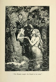 """The Nymph caught the Dryad in her arms.""  The New World Fairy Book  Howard Angus Kennedy Illus. by H.R. Millar London: J.M. Dent & Co., 1904."