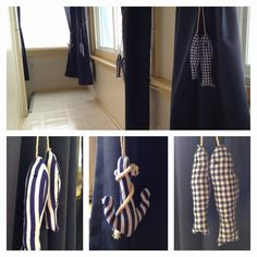 New tie backs we made for the curtains on the sleeping porch at the  beach house! Bought the stuffed fish and anchors at the Christmas Tree Shop. Drilled cup hooks into the wall, and tied loops at both ends of a piece of twine. Looped the twine through the loop at the top of the stuffed decoration and hung them. Super cute and easy! Curtain Ties, Curtains, Anchor Nursery, Stuffed Fish, Cup Hooks, Sleeping Porch, Tree Shop, Tie Backs, Anchors