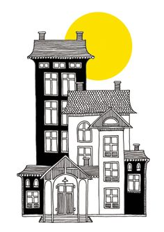 Posters and prints in Scandinavian design - Nordic Poster Collective Building Illustration, House Illustration, Illustrations, Interior Architecture Drawing, Architecture Drawing Sketchbooks, House Sketch, House Drawing, Drawing Artist, Drawing Sketches