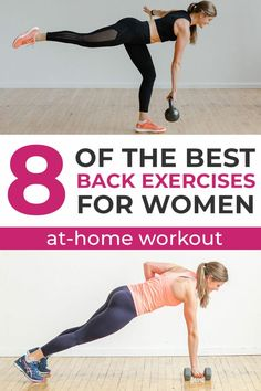 The 8 best back exercises for women -- in one workout! These calorie burning moves will boost your metabolism all day long! Back Workout At Home, Back Workout Women, Good Back Workouts, At Home Workouts, Lifting Workouts, Body Workouts, Dumbbell Back Workout, Emom Workout, Workout Men