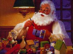 Shop Santa Claus's Workshop - Vintage Merry Christmas Holiday Postcard created by RetroDazes. Merry Christmas, Father Christmas, Vintage Christmas Cards, Christmas And New Year, Christmas Holidays, Christmas Desktop, Christmas Scenes, Christmas Cover, Christmas Music