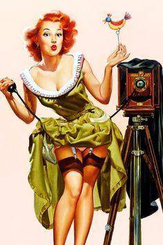 """vintagegal:  """"Watch the Birdie"""" by Vaughan Bass c. 1940s"""