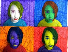 Andy Warhol digital self-portrait using his style of Pop Art. The students studied Andy Warhol and his artwork. Once they got their picture taken and printed off, with 4 pictures on a page in black and white, they had to use markers to create a unique color combination on each picture while keeping complimentary colors in mind. Once their digital self-portraits were completely colored in, they were able to add 4 different Zentangle designs in the background of each square.