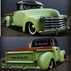 """""""Sour apple green on a #47_55 laid down on wide whites. #classictruck #n2trux #regram from @calclassic"""""""