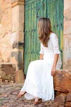 Clochet white long hippie dress