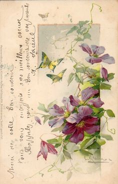 Victorian floral with script and butterflies
