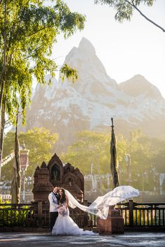 The soaring peaks of Expedition Everest tower above this beautiful Walt Disney World couple. Photo: Stephanie, Disney Fine Art Photography