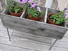 Chipping with Charm: Old Crate Planters...www.chippingwithcharm.blogspot.com
