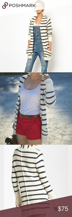 FREE PEOPLE North Beach Long Knit Striped Cardigan Soo cute! Long cozy and comfy free people striped cardigan in navy and white. I love the very long sleeves. Has big buttons on the front if you want to wear it closed. In excellent condition. Could fit a range of sizes depending on the fit you want. As seen on Ashley Tisdale! Free People Sweaters Cardigans