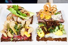 smørrebrød:                                                                                                                                Beef tartare with capers, pickles, and potato chips    Pork belly and walnuts    Roastbeef with horseradish and fried onions and    Halibut with dill and cucumber