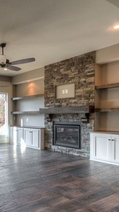 A fireplace is a stunning addition to any home but with so many fireplace designs to pick from finding the proper style may be a small challenge. tv wall built ins Stunning Family Room ideas with Fireplace Fireplace Built Ins, Home Fireplace, Fireplace Remodel, Living Room With Fireplace, Fireplace Design, Fireplace Ideas, Fireplace Stone, Fireplace Shelves, Built In Shelves Living Room