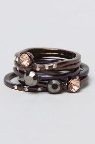 *Accessories Boutique Womens The Stacked Stone Ring in Gunmetal, Jewelry