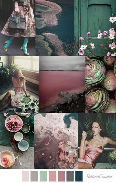 Pink Lake. Beautiful colour palette of pinks and greens in muted tones.