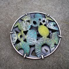 L. SUESZABO-BAW 52/20, by L. Sue Szabo  ||  Enamel on copper, sifted sgraffitoed, stoned. Sterling setting, fabricated.