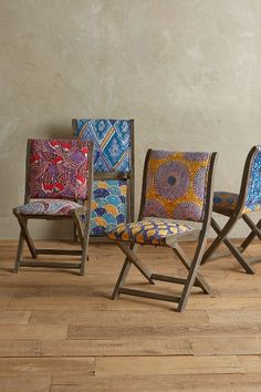 clearly can't afford this but nice idea for upholstery. Hand-screen-printed upholstery in bright Dutch wax motifs top this folding wood-frame chair. African Interior, African Home Decor, Unique Furniture, Home Furniture, Furniture Design, Garden Furniture, Funky Furniture, Lounge Furniture, Kitchen Chairs