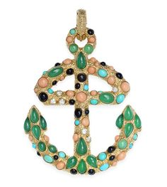 A coral, gem-set and diamond anchor brooch-pendant, by Van Cleef & Arpels, circa 1970