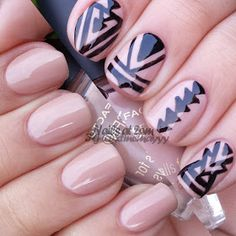 Nude with a black geometric pattern