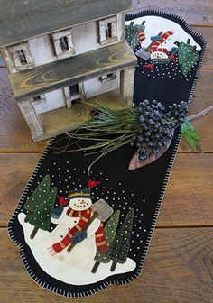 Wool Applique Pattern Snowman For Hire by FiddlestixDesign