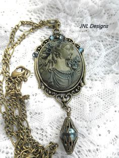 Hand Painted Victorian Lady Cameo  Oval by TreasuresofJewels, $20.00