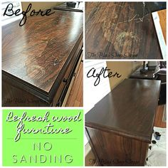 Refurbish Wood Furniture without Sanding It's easy to refresh wood furniture without sanding or stripping. The post Refurbish Wood Furniture without Sanding appeared first on Wood Diy. Restore Wood Furniture, Cleaning Wood Furniture, Handmade Wood Furniture, Modern Wood Furniture, Furniture Cleaner, Furniture Repair, Furniture Projects, Diy Furniture, Painted Furniture