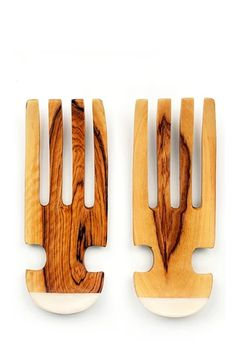 Bring traditional African design into the modern kitchen with these unique salad servers featuring white bone inlay. These exceptional servers are hand-carved from a single piece of olive wood and han Wooden Kitchen, Rustic Kitchen, Wild Olive, Diy Cutting Board, Serving Utensils, Kitchen Utensils, Wood Tree, Wooden Spoons, Carved Spoons