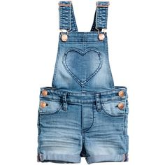 Denim Bib Overall Shorts $24.99 (£20) ❤ liked on Polyvore featuring shorts, denim shorts, short overalls, overall shorts, pocket shorts and denim bib overall shorts