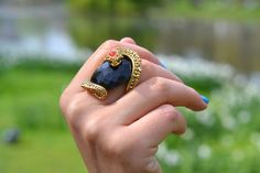 incredible ring - and blue nails!