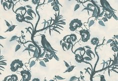 The Tea House Paper (TCW1012-01) - Tapet-Cafe Wallpapers - Get lost in a secret garden with this elegant wallcovering. With its charming floral trails, birds and hand drawn charcoal effect you can immerse yourself in a fantasy world. Shown here in cream and deep teal blue. Please request a sample for a true colour match. Paste-the-wall product.  Pattern repeat is 72cm.