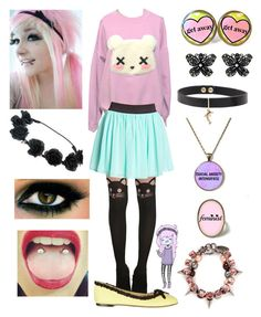 """""""Emo Fluttershy / pastel goth"""" by mylittlepony-outfits ❤ liked on Polyvore featuring Hot Topic, Forever 21, Charlotte Olympia, Betsey Johnson, Joomi Lim, MLP, MyLittlePony and Fluttershy"""