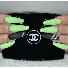 Lime green with Matte Black and Swarovski crystals ♥ #gelnails #gelenaglar #matte #black #lime #naglargöteborg