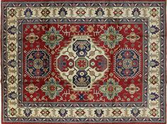 Unique 8x11 Oriental Kazak Red/Ivory Hand Knotted Geo-Floral Wool Area Rug H7432