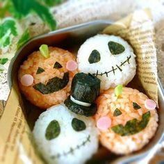 『* Halloween の お弁当 *』 - Jack onigiri helloween spooky creepy pumpkin kürbis nightmare before christmas schädel skelett reisbällchen rice bento reis Fille Au Pair, Cute Food, Yummy Food, Bento Kids, Cute Bento Boxes, Sushi, Kawaii Bento, Boite A Lunch, Bento Recipes