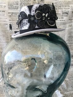 Steampunk Mini Top Hat Fascinator -Map Print with Cameo and Floral Applique