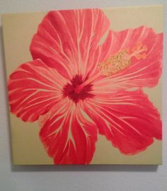 Hot Pink Tropical Hibiscus Flower Painting on Canvas by LexSeaArt